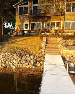shoreline retaining wall and dock
