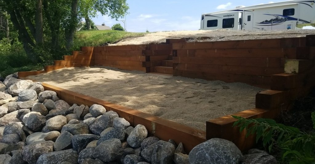 landscape patio retaining wall